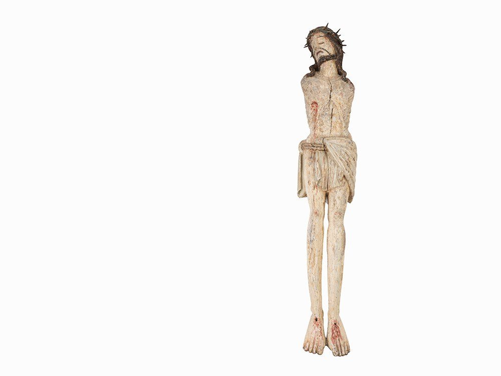 A Carved Figure of Christ Crucified, Spanish, 15th C.