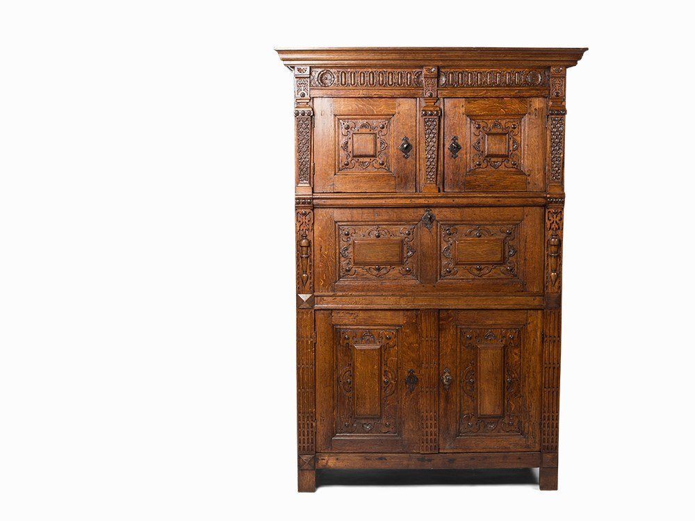 An Oak and Carved Oak Buffet Cupboard, Flemish, 17th C.