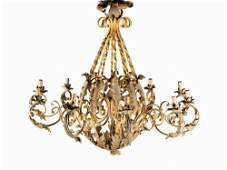 A Pair of Iron Chandeliers Probably French 19th C