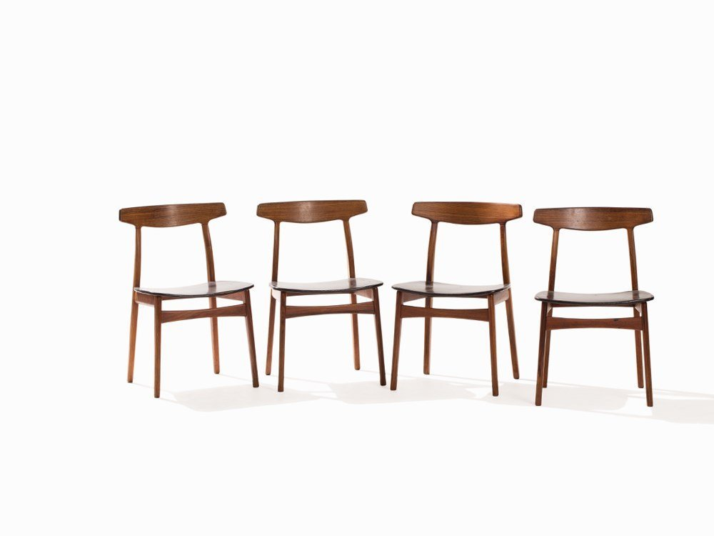 Henning Kjaernulf, Set with 4 Chairs, Bruno Hansen,