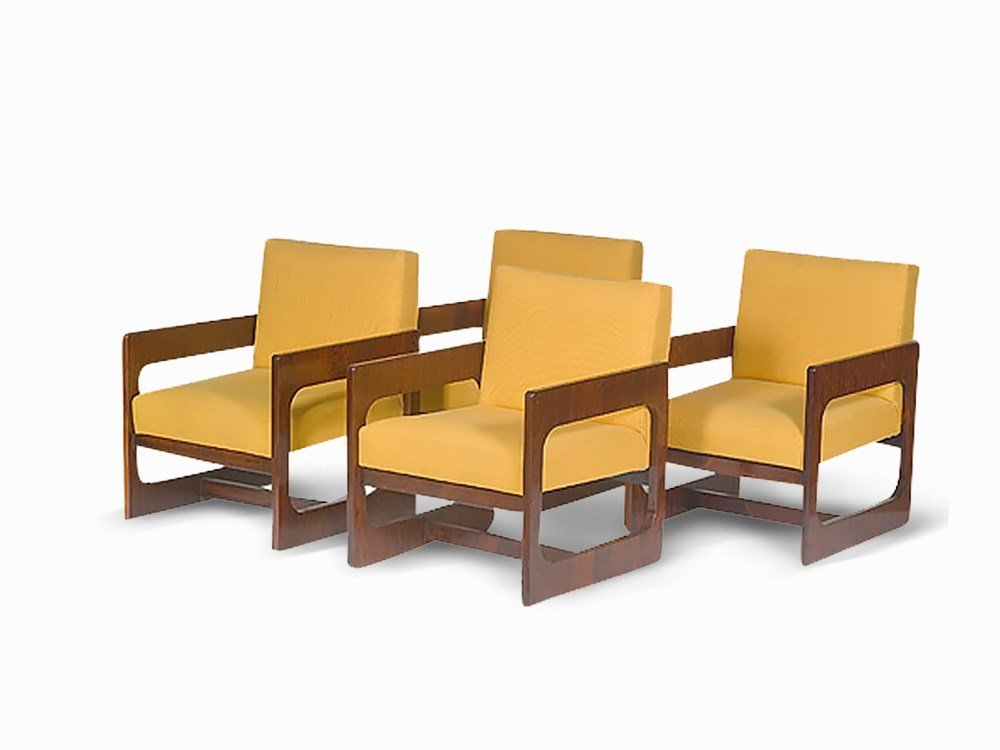 Sergio Rodrigues, Rare Set of 4 Rosewood Armchairs,