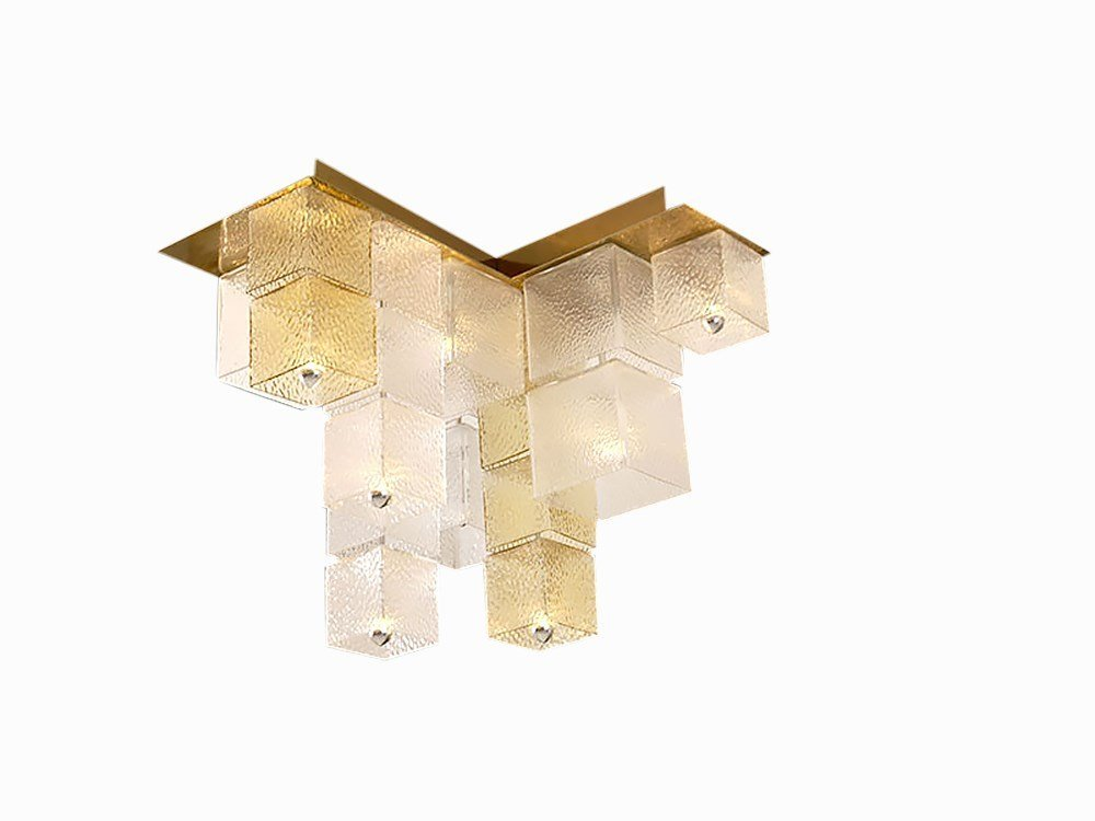 4 Glass Cube Ceiling Lights, Italy, 1960