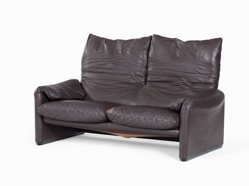 Vico Magistretti, 2 Leather Sofas, Maralunga, Italy,