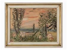 Charles Crodel, Abendlandschaft mit Rosen, Oil,