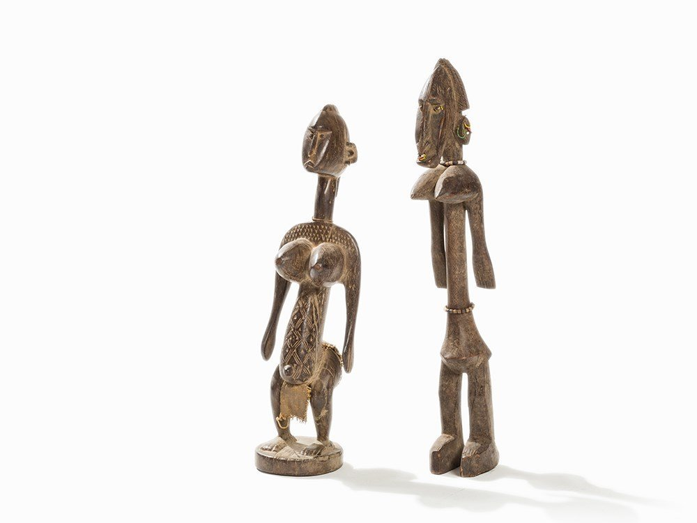 Pair of African Wooden Figures from Bambana, Mali, c.