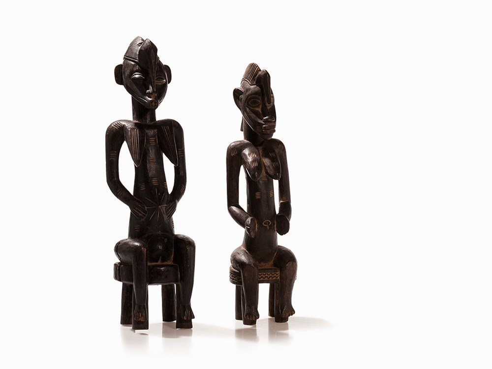 Pair 'Synopho du Mali' Wooden Figure, Mali, around 1940