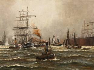 Alfred Jensen (1859-1935), Harbour of Hamburg with