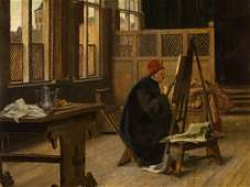 Claus Meyer (1856-1919), Painter in his Studio, Oil,