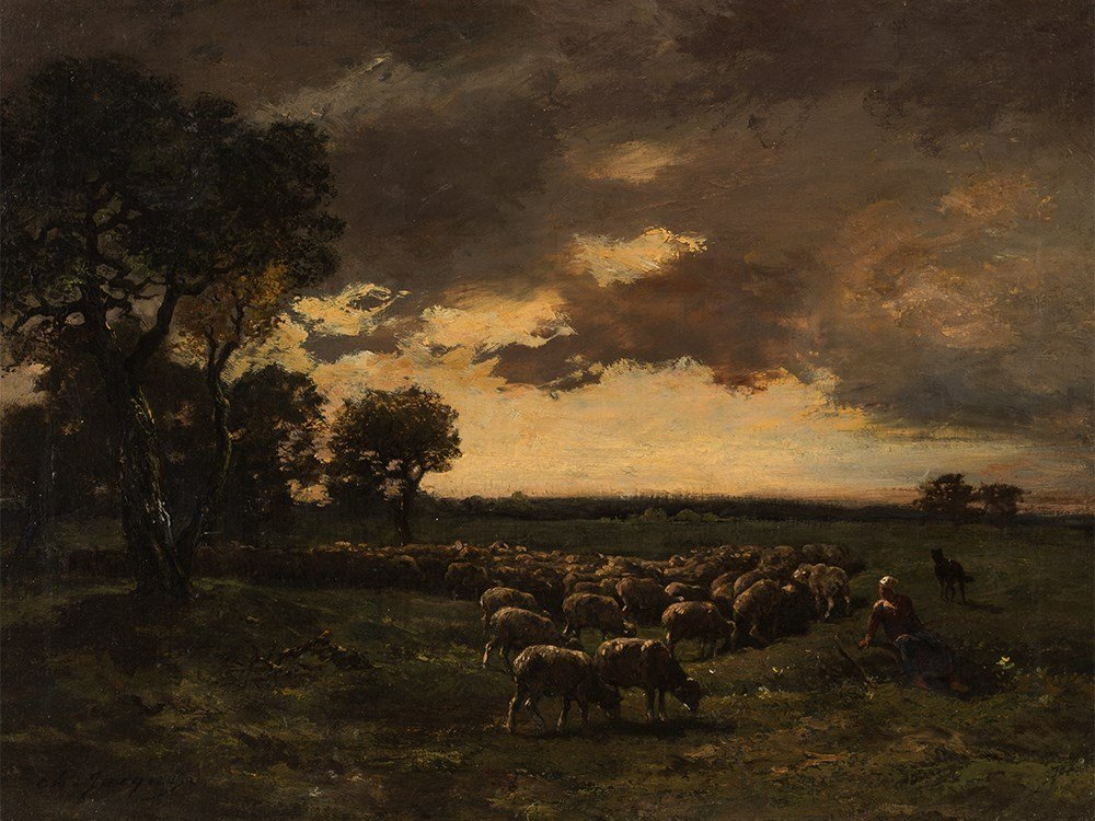 Charles Émile Jacque (1813-1894), Herd of Sheep, Oil,