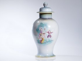 Large Rosenthal Lidded Vase Painted By E. Amadeus-dier,