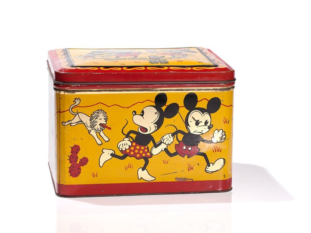 Rare Mickey Mouse Tin Box by Hoffmann, Switzerland,