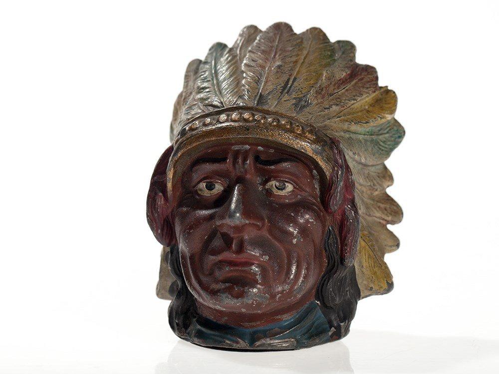 "Beautiful rare antique money box ""Indian chief"", around"