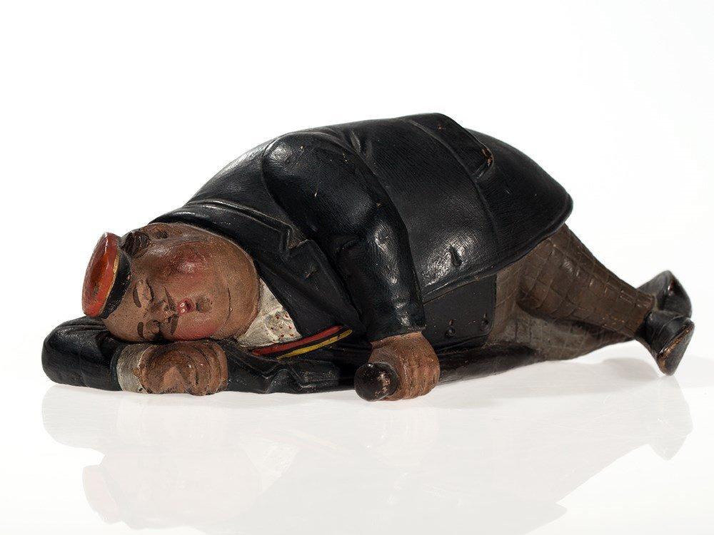 """Figural still bank """"Sleeping student"""", Austria, around"""