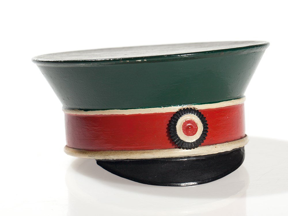"Tin money box ""officer's cap"", Germany, around 1920"