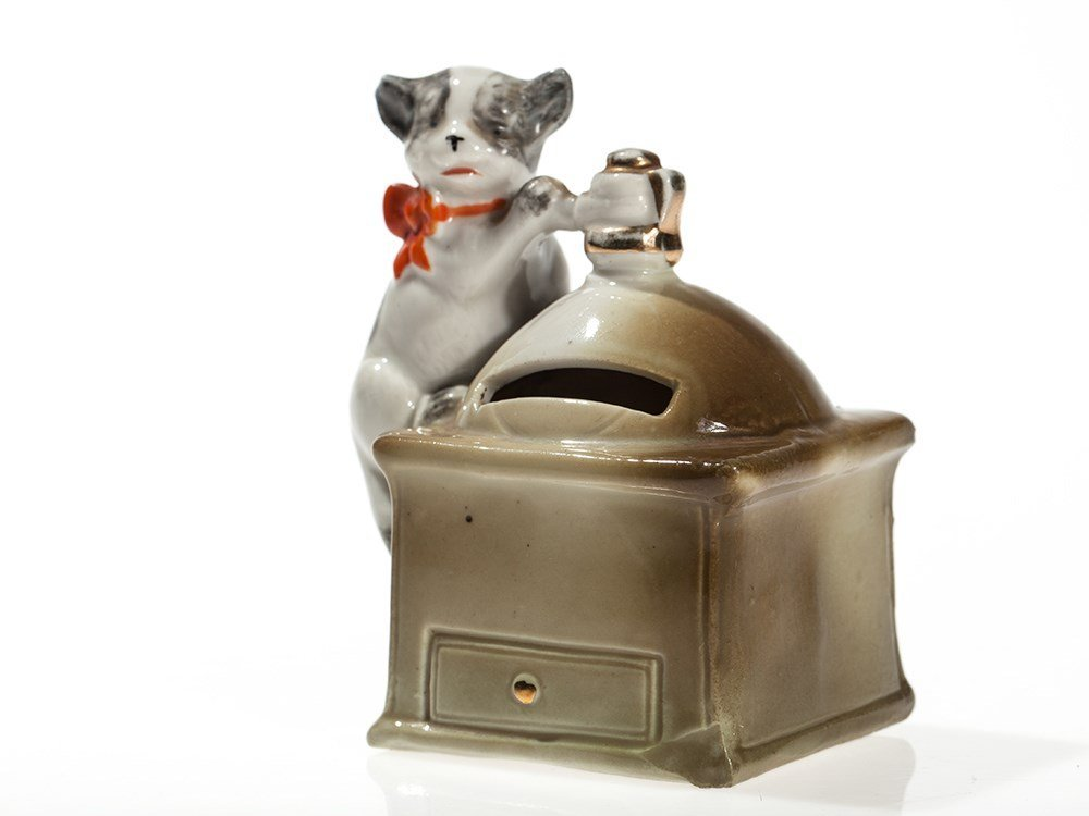"""Cute still bank """"Coffee mill with cat"""", Germany, around"""