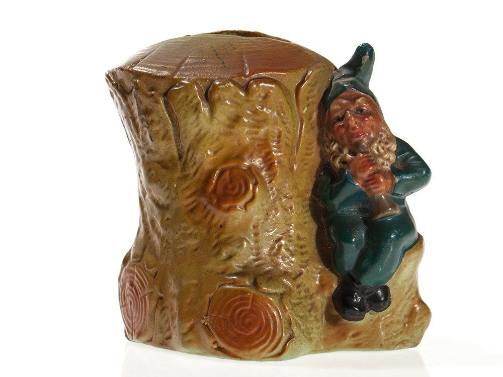 "Figural still bank ""tree stump with dwarf"", Germany,"