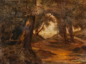 Romantic Oil Painting, 'forest Landscape', Around 1850