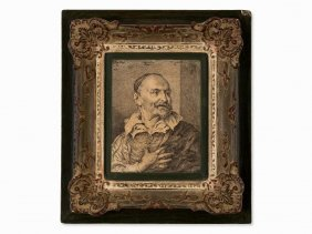 Anthonis Van Dyck, Copper Engraving, Portrait Of A Man,