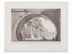 Giovanni Battista Piranesi, Veduta With Bridge, 18th C.