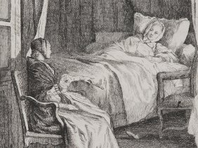 "Etching ""sick Bed Visit"" By Jean-claude R. De"