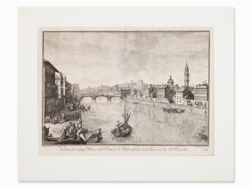 Johann Sebastian Müller, Veduta Of Florence, Engraving,