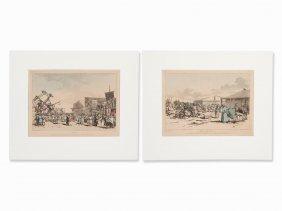 John Augustus Atkinson, 2 Colored Engravings, England,