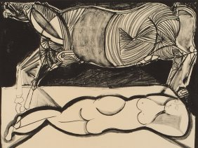 "Lithograph ""woman With A Horse"" By Bruno Cassinari,"