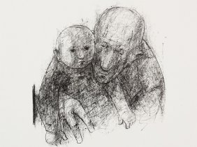 """Lithograph """"old Man With Child"""", Hans Theodor Richter,"""