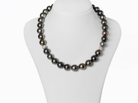 Tahitian Cultured Pearl Necklace With Zirconia Silver