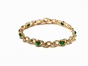 Bracelet With 6 Emerald Cabochons And 12 Diamonds, 18k