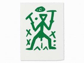 A.r. Penck, Standart – Green (proof Copy), Serigraph,