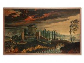Painting, Thundery Landscape, Presumably Germany,