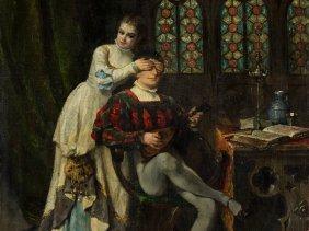Adolphe Alexandre Lesrel (1839-1929), Surprise, Oil,