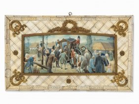 Stately Ivory Frame With Gouache Painting, Germany, C.