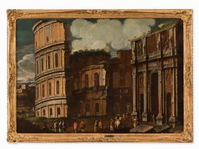 Capriccio With The Colosseum, Oil, Italian School, 17th