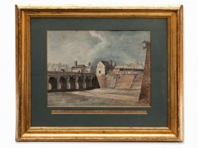 Antonio De Pian, Watercolor/ink, Castle Gate Bridge, C.