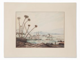 Feluccas On The Nile In Egypt, Watercolor, England,