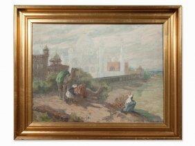Hugo Vilfred Pedersen (1870-1959), Taj Mahal, Oil, C.