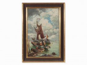 Karl Kaufmann, Oil Painting, Harbor View With Sailboat,