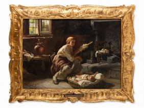 Giuseppe Magni (1869-1956), The Lullaby, Oil Painting,