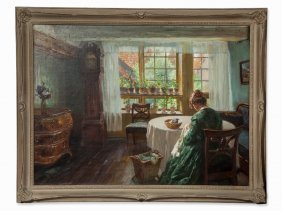 Wilhelm Claudius (1854-1942), Lady In Interior, Oil,