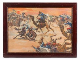 Roland Strasser, Gouache, Desert Battle In The Orient,