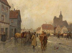 Georg Karl Koch (1857-1931), Street Scene, Painting,