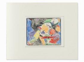 Adolf Hölzel, Landscape With Figures, Wax Crayon, 1920s