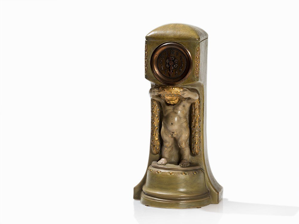 VDK Bechyn?, Art Nouveau Clock with Putto, Bohemia, c.
