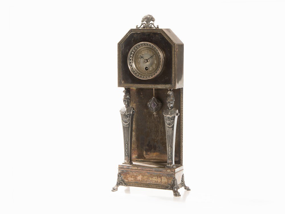 Junghans, Table Clock with Caryatids, Germany, c.