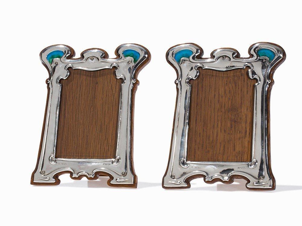 Pair of Silver Art Nouveau Photograph Frames, London,