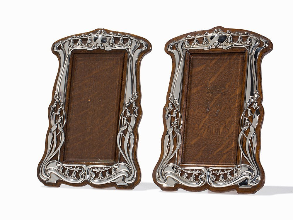 Pair of Silver Art Nouveau Photograph Frames, England,