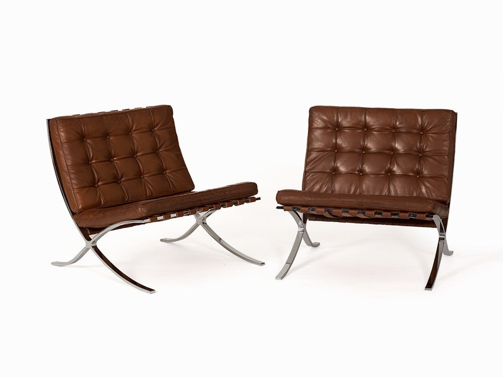 Ludwig Mies van der Rohe, Pair of Barcelona Chairs,
