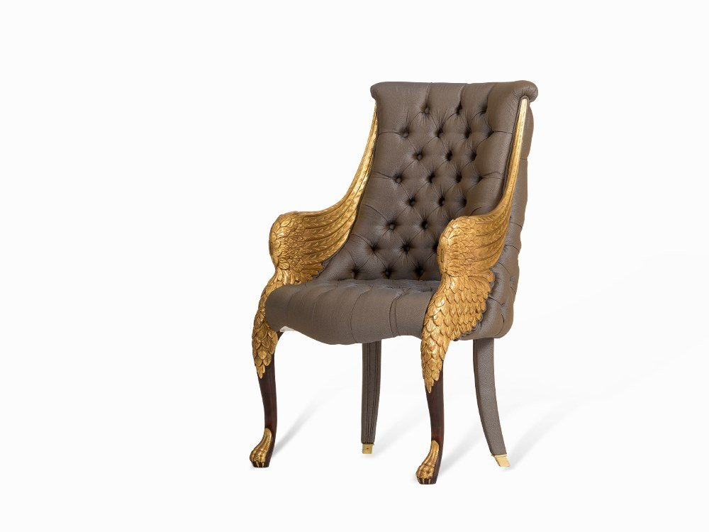 An Armchair with Gilt Wing Armrests, Belloni, 1990s